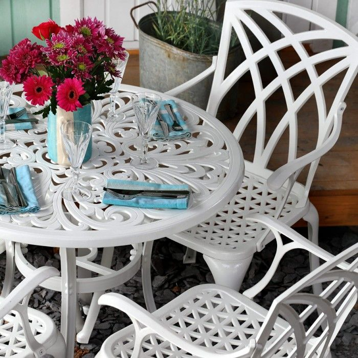 White Jill Round 2 Seater Cast Aluminium Patio Set Lazy Susan
