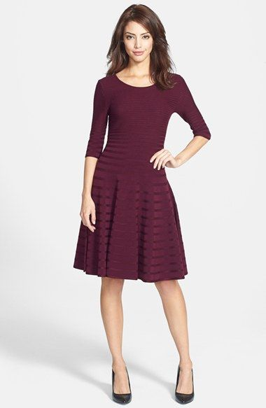 burgundy stripe knit fit and flare three-quarter sleeve dress
