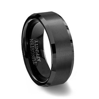 Black Tungsten Carbide Ring Brushed With Beveled Edge Black Tungsten Rings Black Titanium Ring Black Tungsten Carbide Ring