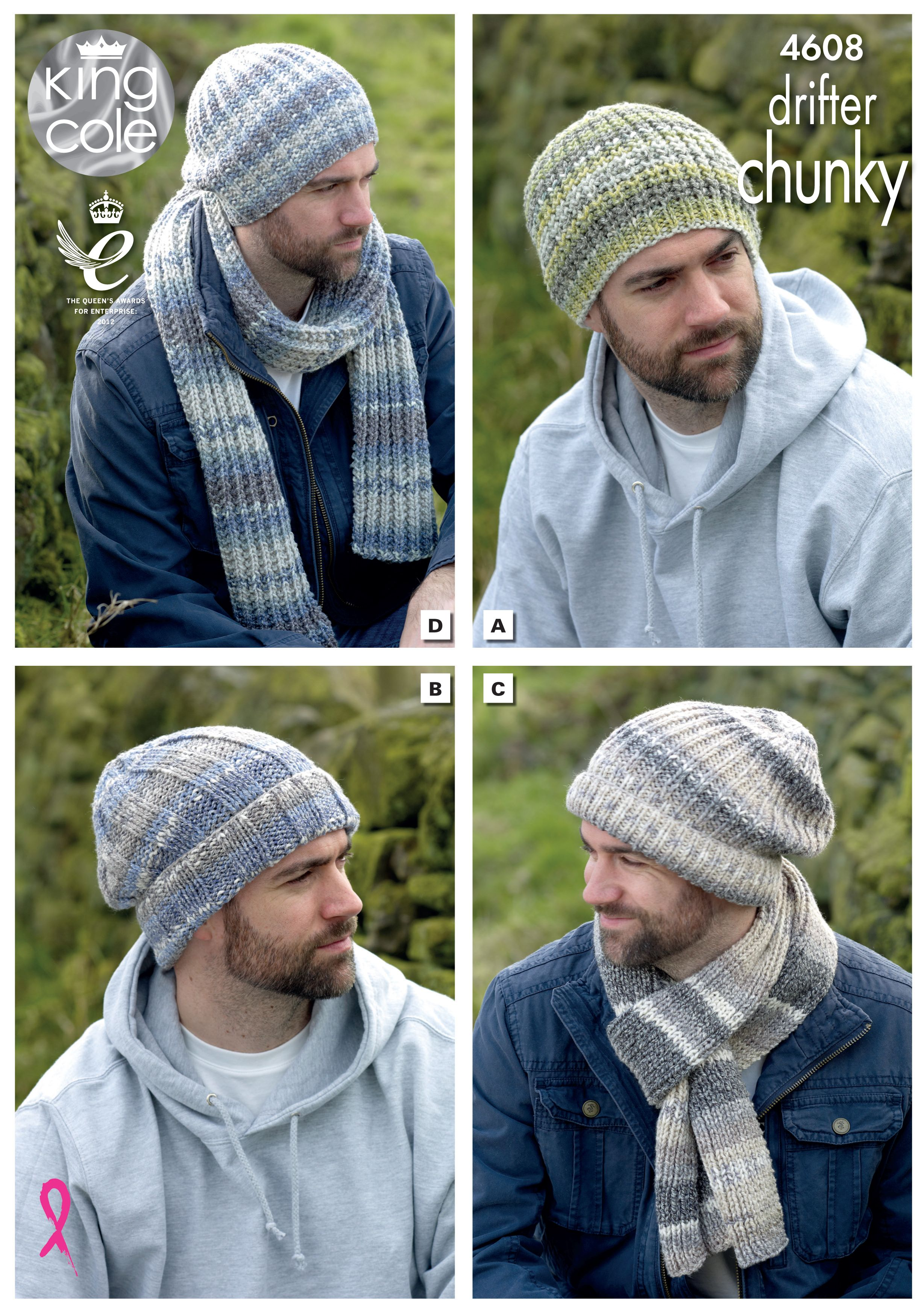 78e09bbb5fb Knitted hats in various colours. Self striping yarn - King Cole ...