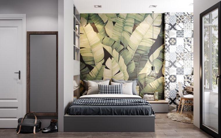 Stanza da letto parete motivi carta parati specchio pavimento legno