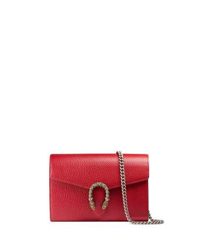 7366a67dcc32 GUCCI Dionysus Leather Mini Chain Wallet, Red. #gucci #bags #shoulder bags  #wallet #leather #accessories #crystal #