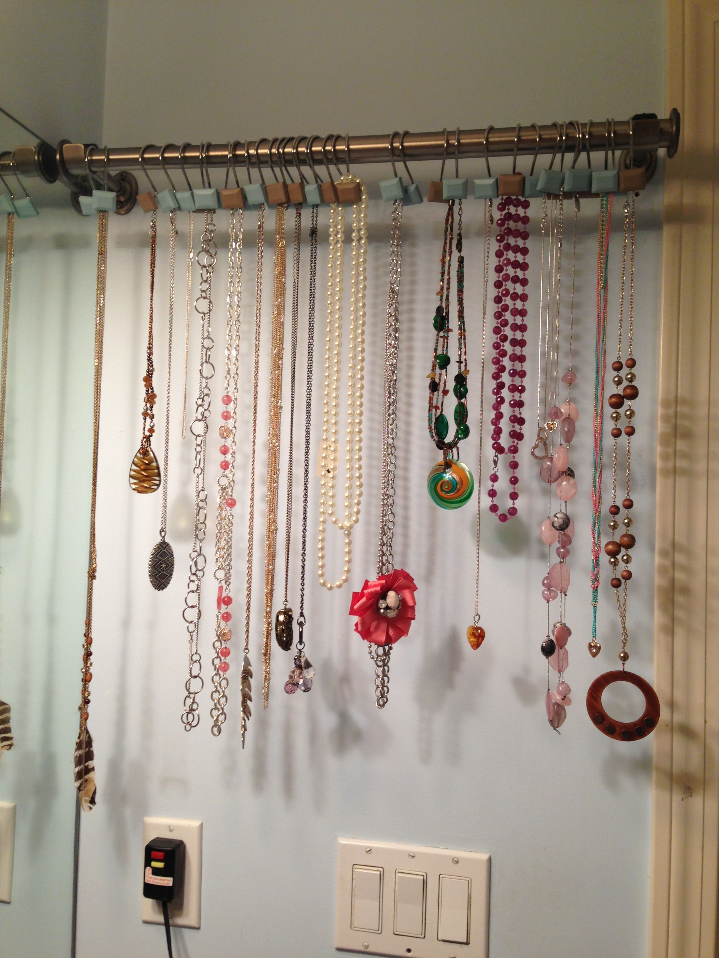 Diy necklace storage super easy small curtain rod with