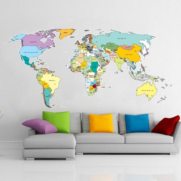 Printed world map vinyl wall sticker removable wall decal vinyl impression