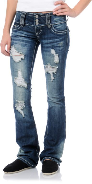 31a18221550 Almost Famous Malorie Medium Blue Ripped Bootcut Jeans in 2019 ...