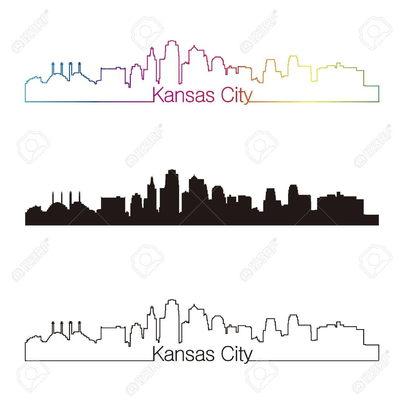 Kansas City Skyline Linear Style With Rainbow In Editable Vector Kansas City Skyline City Tattoo Kansas City