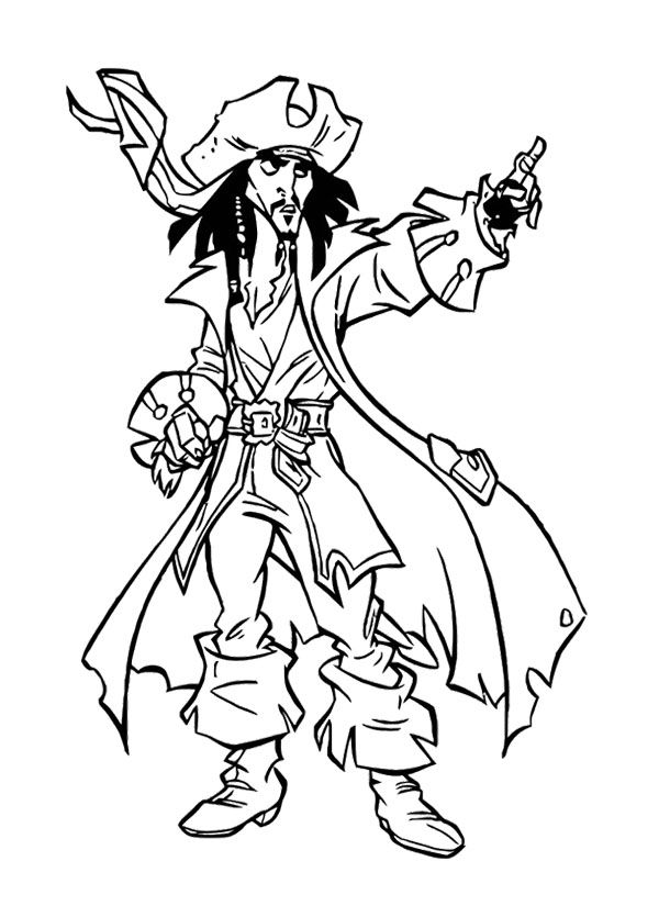 Jack Sparrow Giving Directions Coloring Page For Kids