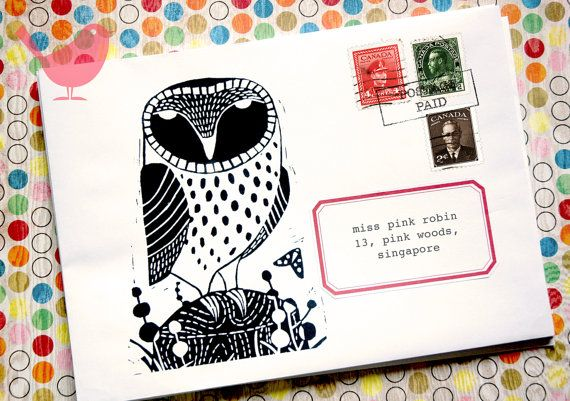 Barn Owl Envie Set 0f 5 Envelope Art Bird Theme Owl