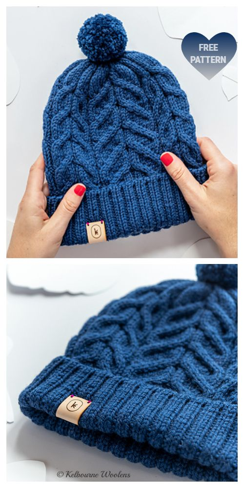 Knit Unisex Cable Beanie Hat Free Knitting Pattern - Knitting Pattern #freeknittingpatterns