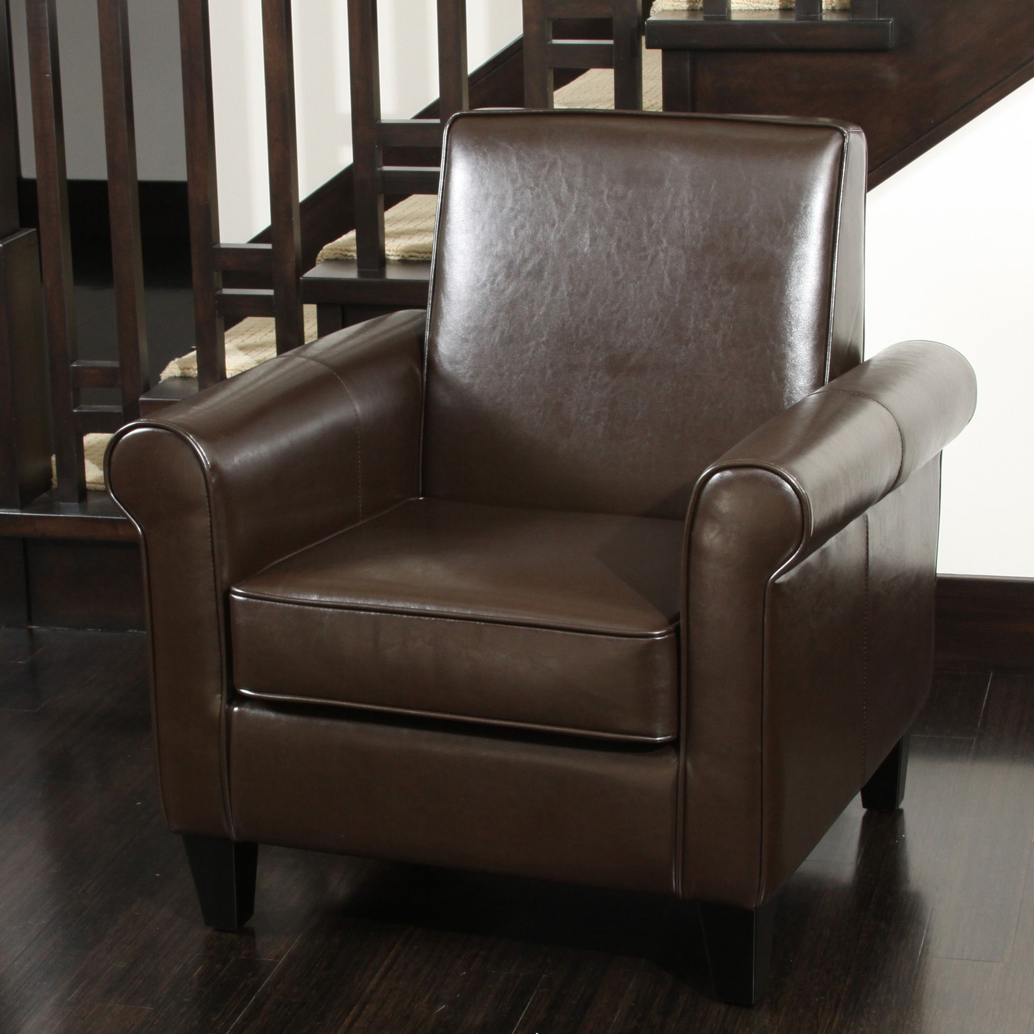 Charmant Freemont Brown Bonded Leather Club Chair By Christopher Knight Home