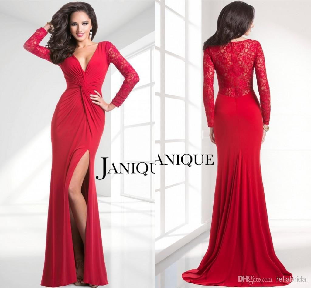 Wholesale red lace long sleeve long prom dresses sexy formal elegant