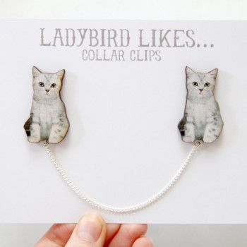 crazy for cats collar clips, handmade. http://www.justdaydreaming.com/product-category/crazy-for-cats/