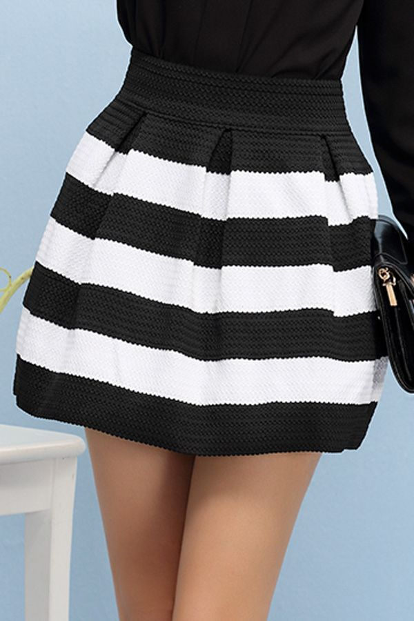 24d521725 Closet crushing on this black and white striped high waisted black skirt  that is only $20
