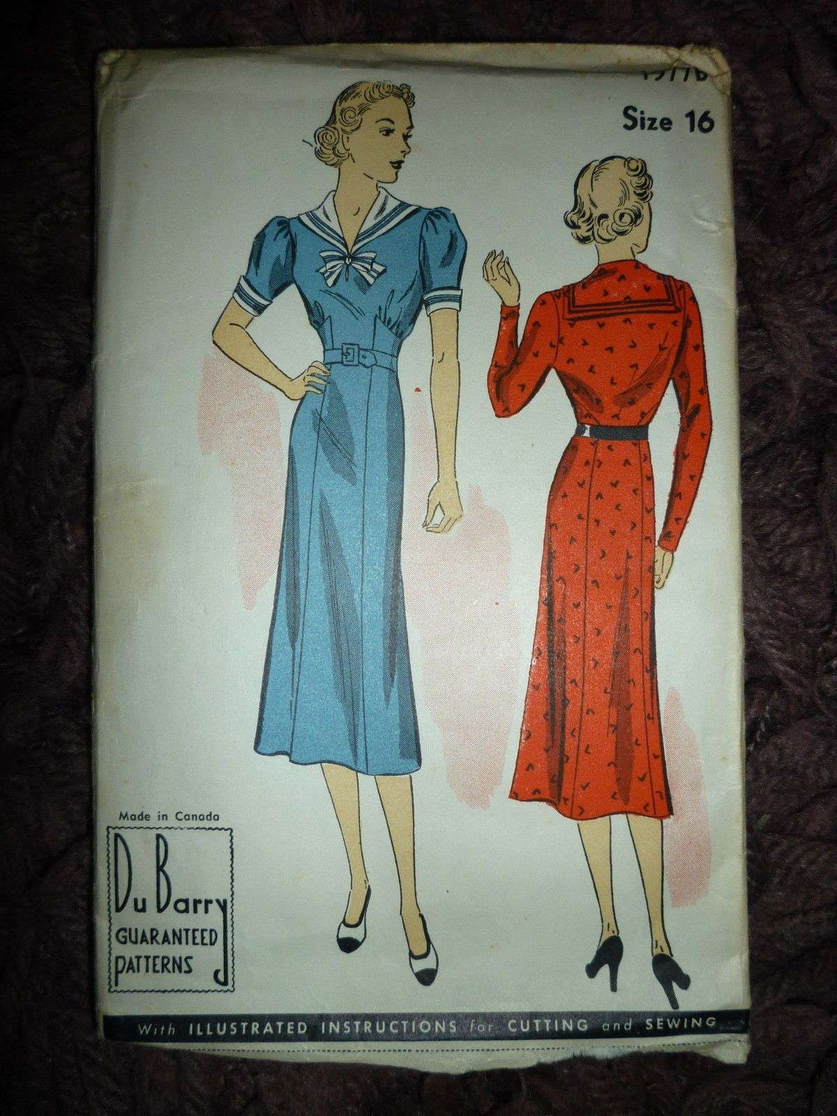 d71e74e020c ORIGINAL VINTAGE VERY RARE 1930 s DU BARRY DRESS SEWING PATTERN SIZE 16 BUST  34
