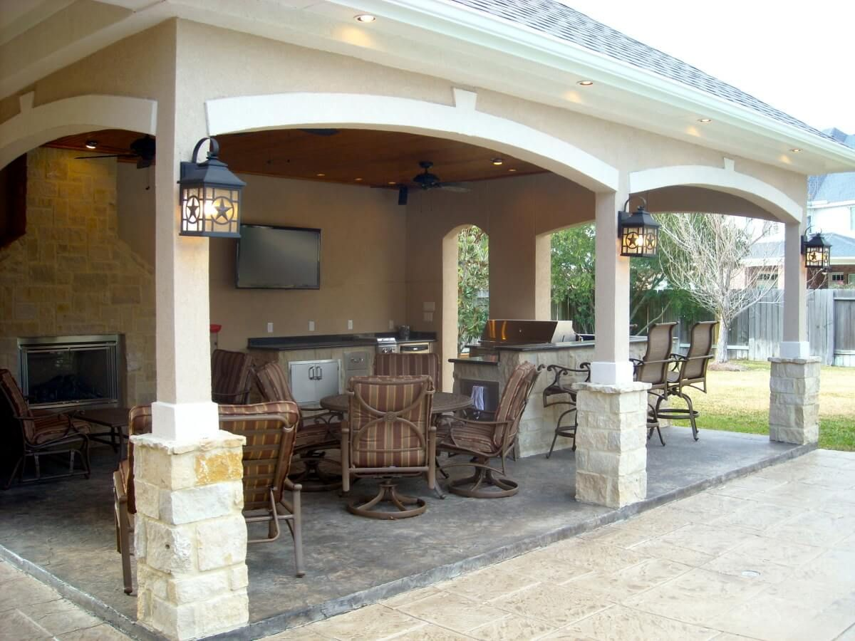 Attached Covered Patio Cabana With Curtains | Pool House With Outdoor  Kitchen U0026 Fireplace In Cypress
