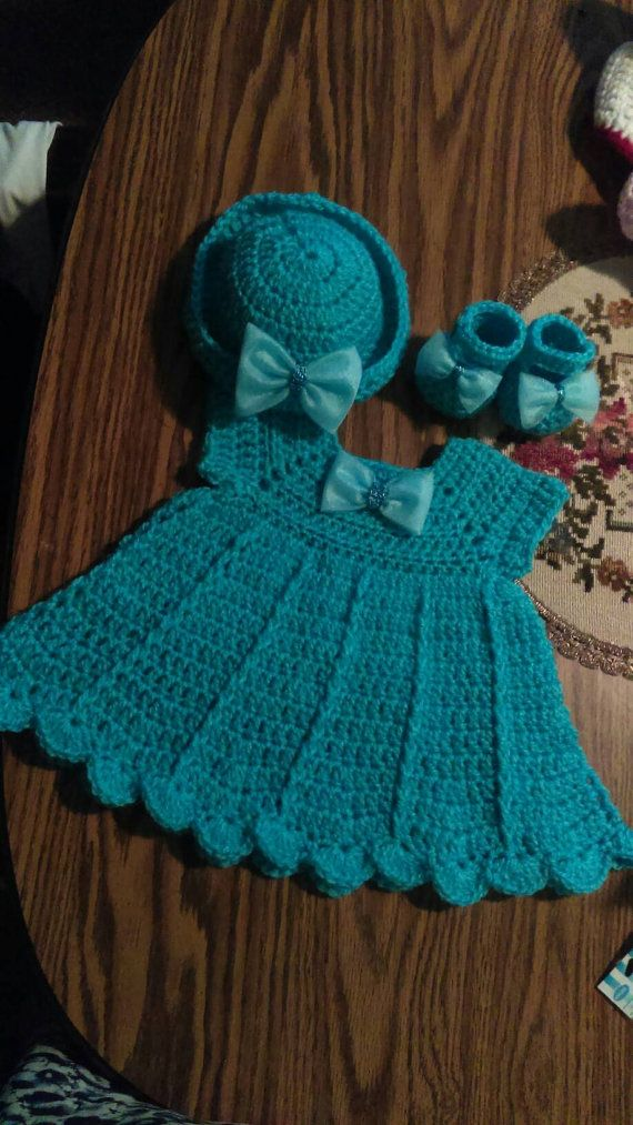 3374168bb Beautiful crochet turquoise retro style baby dress set this