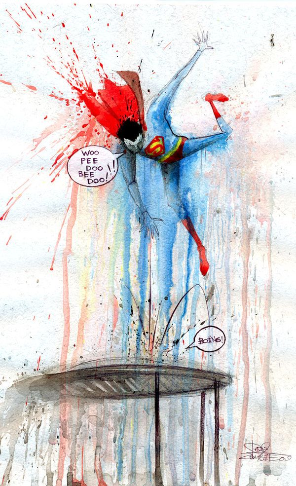 Superman On Trampoline Seriously Cool Watercolor Painting Lora