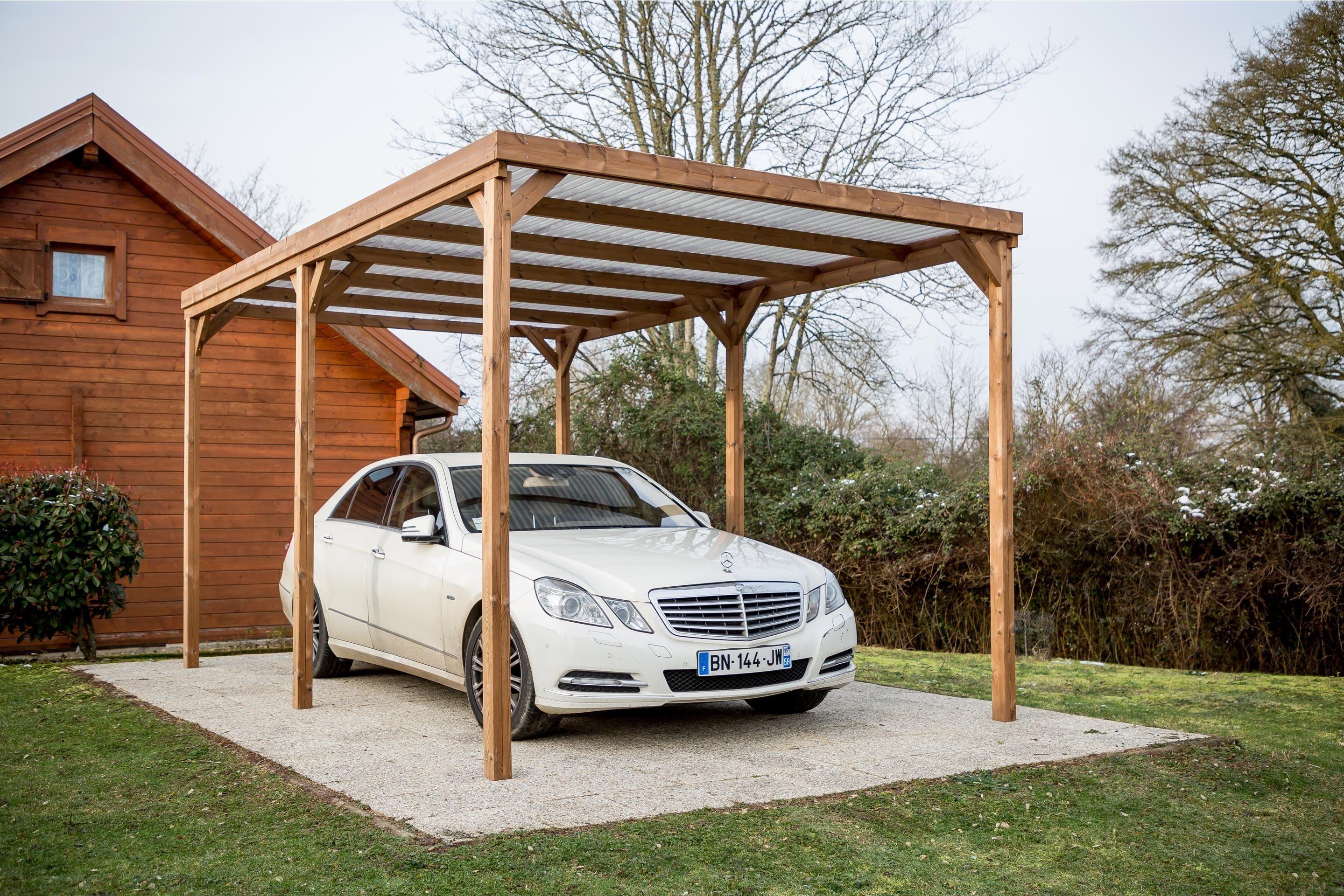 Carport bois THT HABRITA TH 3051 S pour 1 voiture, 15.06
