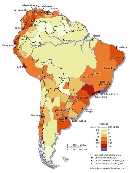Population Density in South America mapSCAPE Pinterest South - new world map by population