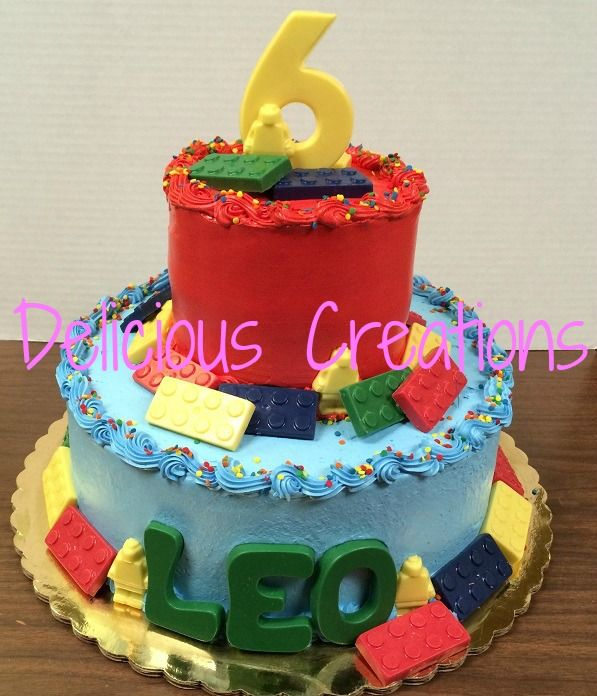 Lego Birthday Cake  by Delicious Creations - Hickory Hills, IL  http://www.deliciouscreationsinc.com/partycakepictures