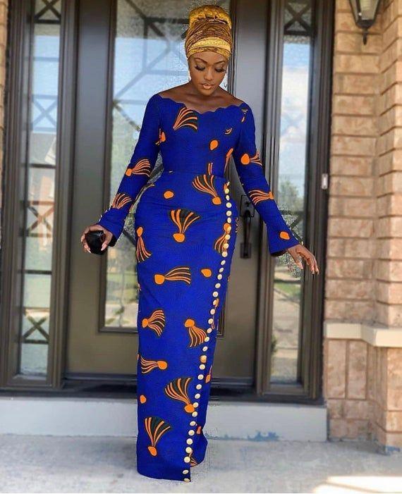 Lovely African Print Dress, Classic Ankara Dress,