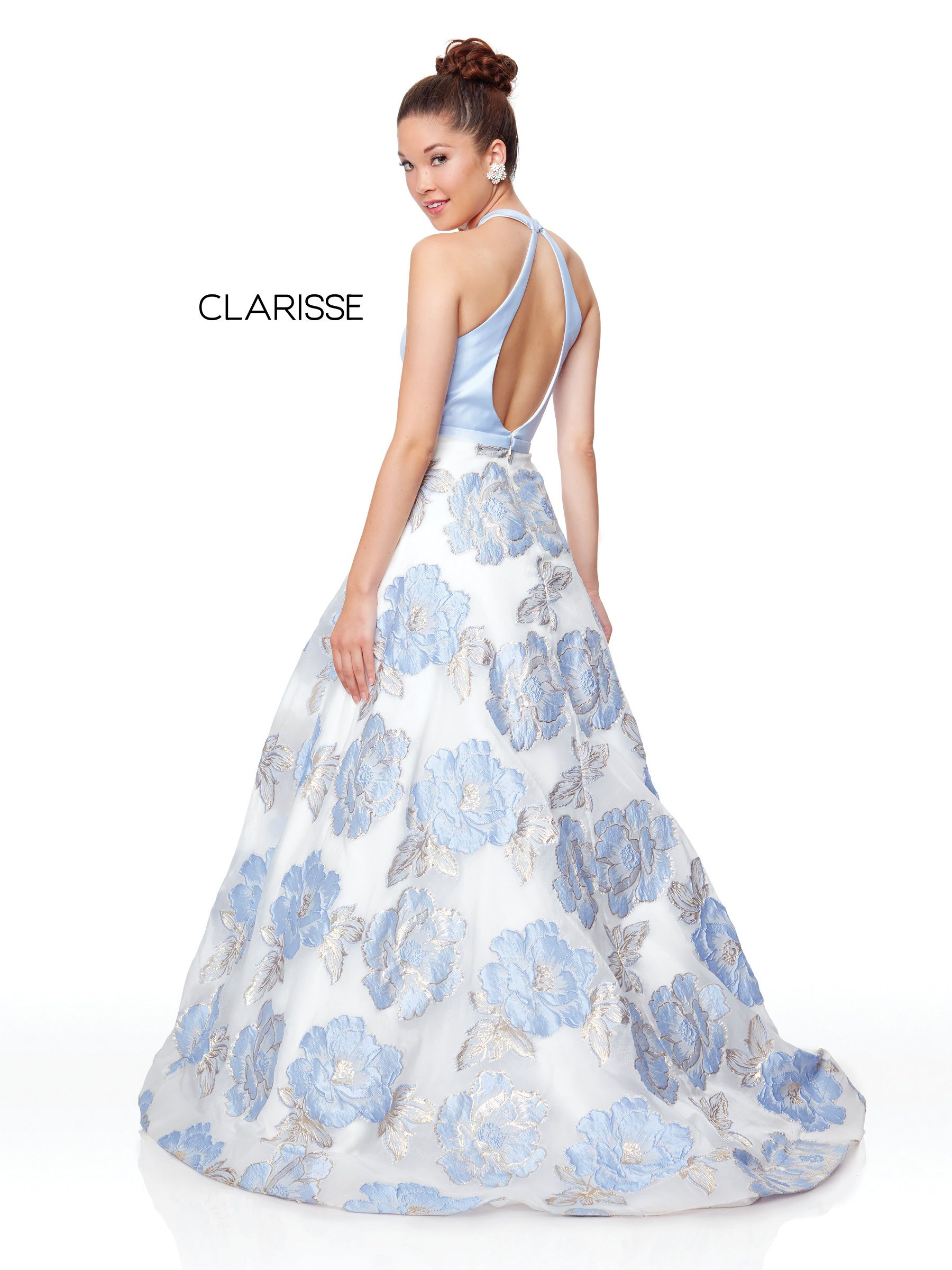 f83e987cfbf0 3873 - Lilac Print ball gown with a halter top and open back ...
