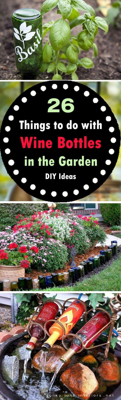 diy wine bottle ideas for the garden weinflaschen ideen flaschen wein und flaschen dekorieren. Black Bedroom Furniture Sets. Home Design Ideas