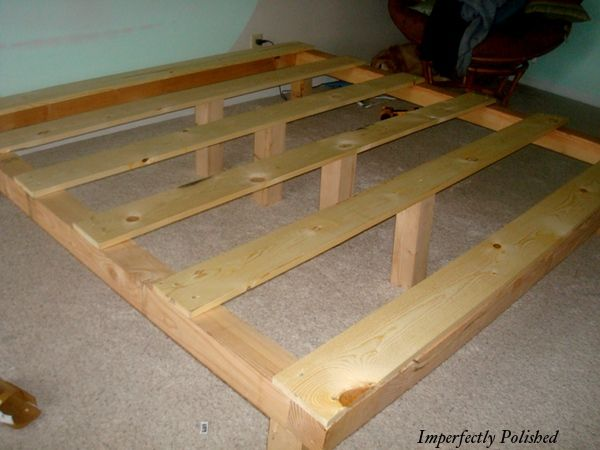 This is a cheap and easy way different legs for Simple diy platform bed