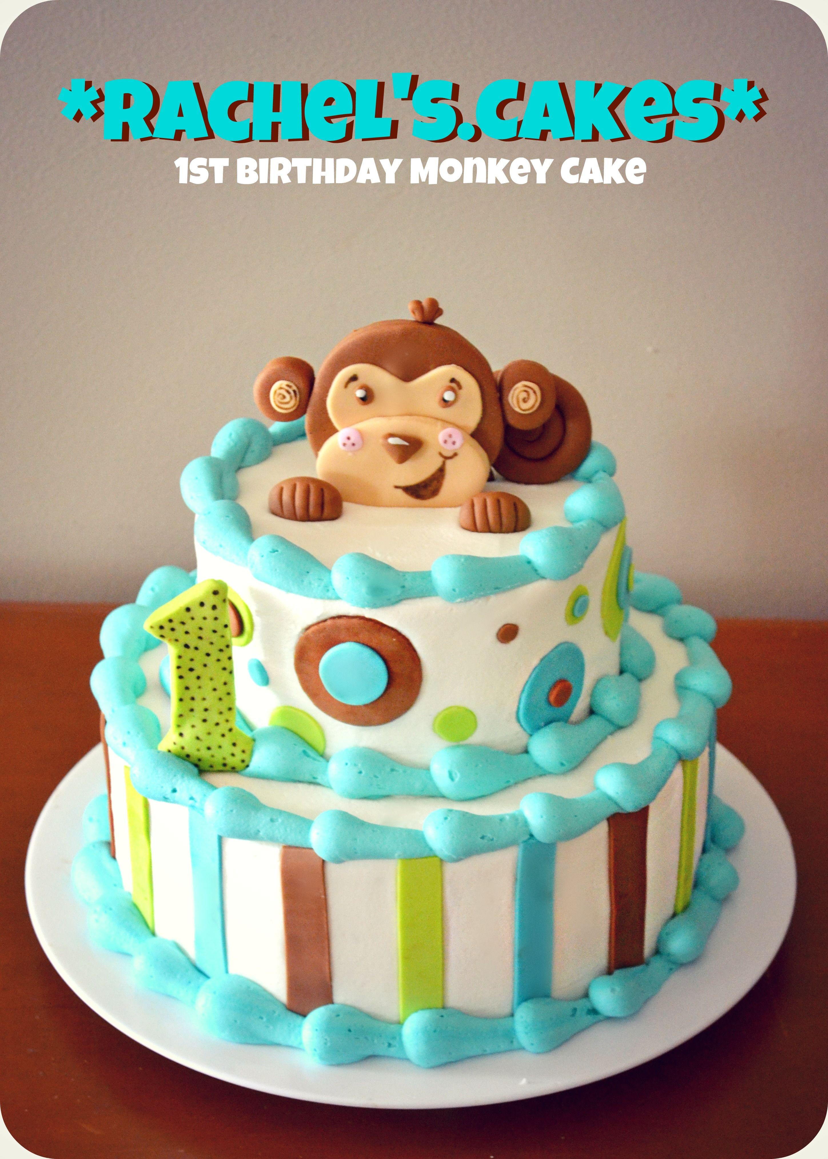 1st Birthday Monkey Cake My Own Cakes Pinterest