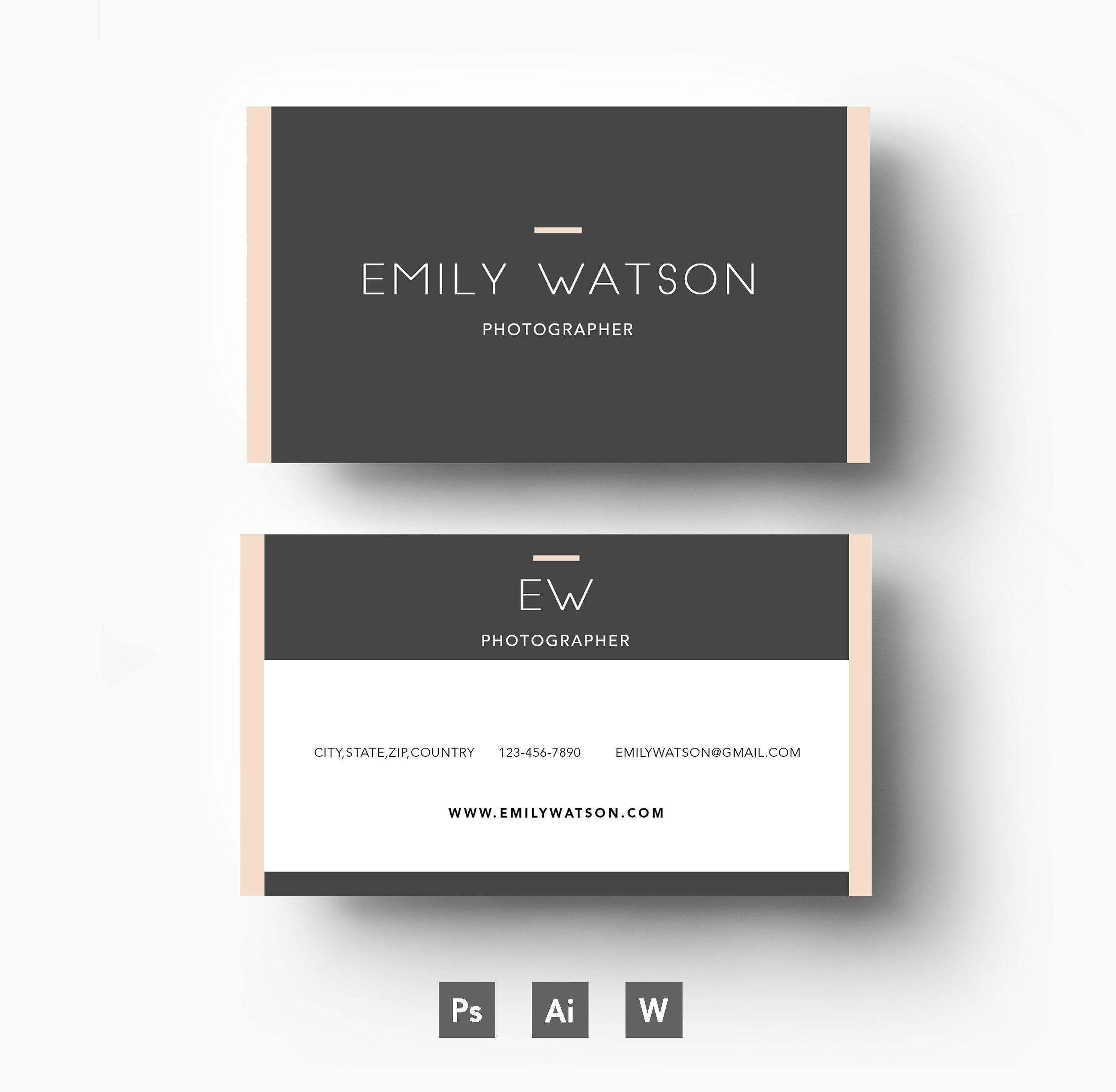 Three Colour Business Card Template By Emily S Art Boutique On Creativemarket Professional Business Cards Templates Business Card Inspiration Cards