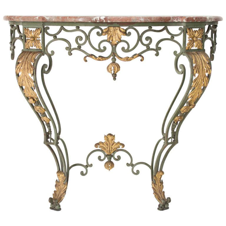 vintage metal console table wrought iron console with marble top interior 6847