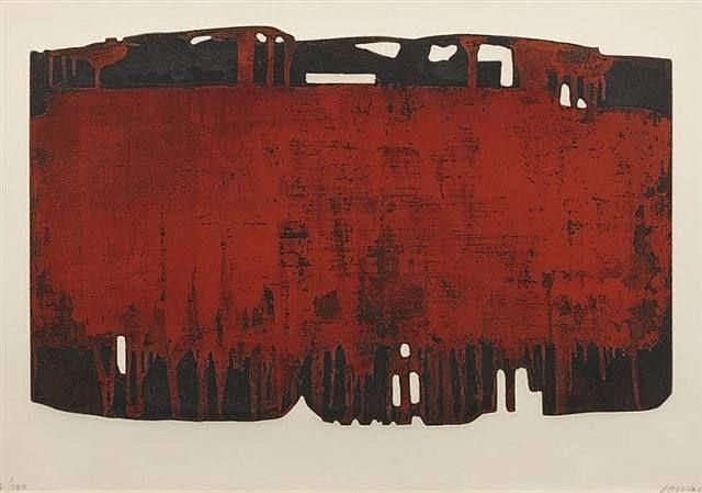 1974- Composition rouille et noire XXV etching, Pierre Soulages