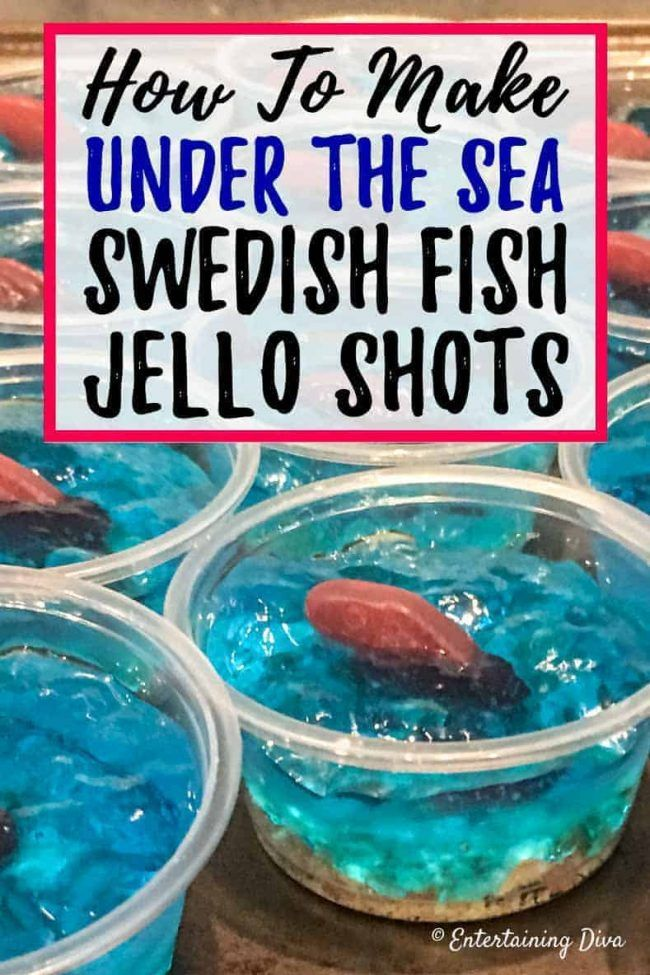 This 'under the sea' Swedish fish jello shot recipe with coconut rum is awesome! It is made with Malibu rum and is one of the best blue jello shots I've tried. #entertainingdiva #jelloshots #cocktailrecipe #summerfun #partyideas #jelloshots