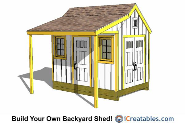 8x12 Colonial Shed Plans With Porch 8x12 Shed Plans Shed With