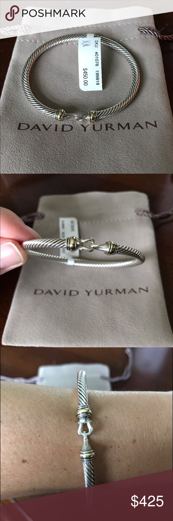 NWT David Yurman 4mm buckle bracelet Medium This has tags still attached from NM. Retail $450 buckle bracelet. Comes with original pouch and NM box. The size is 4mm and Medium. Two tone silver and gold. Contact to make offer - cheaper through PayPal! Also welcoming trades for size Small DY cable bracelets (this medium is a bit large for me and I cannot return to store). David Yurman Jewelry Bracelets
