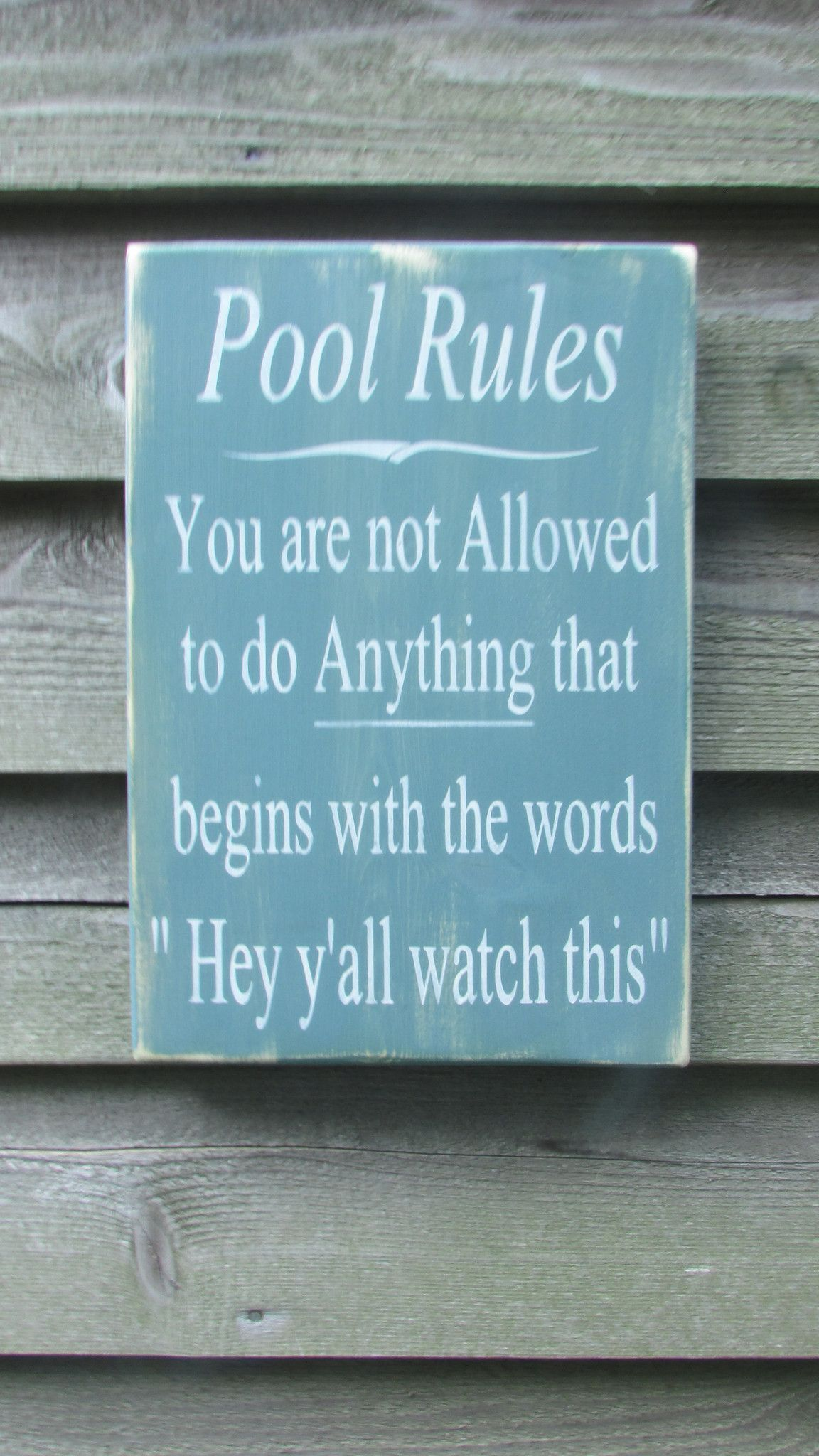 Hand Painted Wood Sign Pool Rules Sign Pool Sign Primitive Rustic Sign Outdoor Decor Home