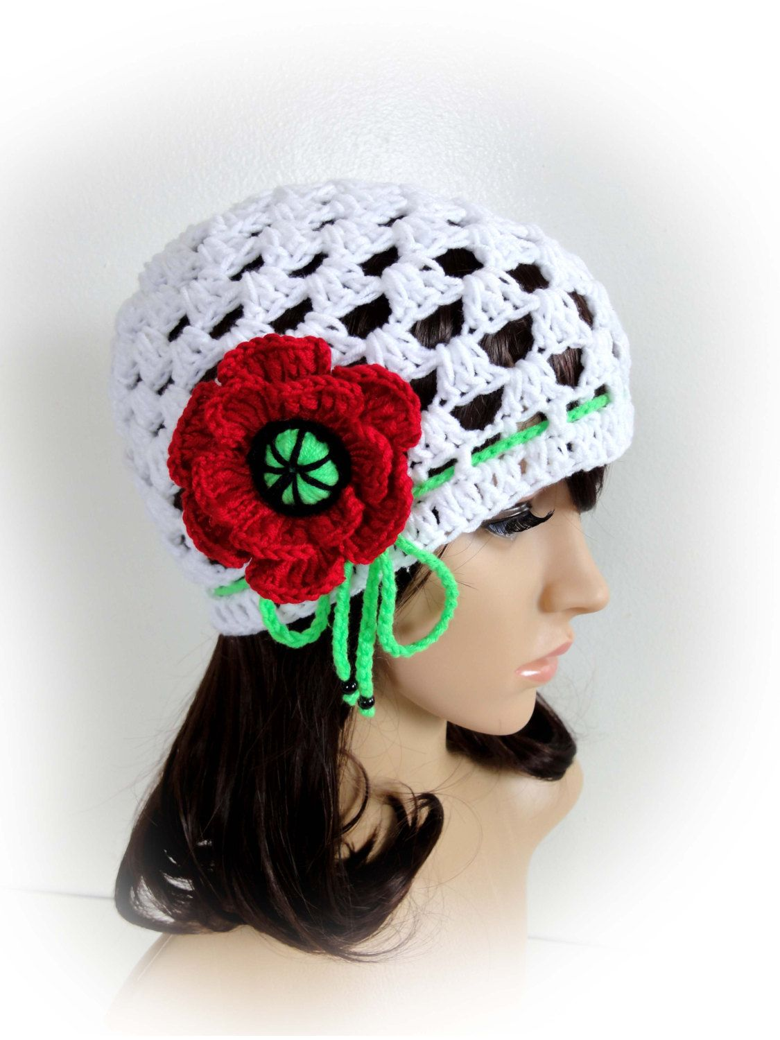 Crochet Net Hat. White or 23 Colors. Adjustable with a Drawstring. Crochet Flower Poppy. Open Stitch Spring Summer Beanie. Women and Teens. by VividBear on Etsy ♡