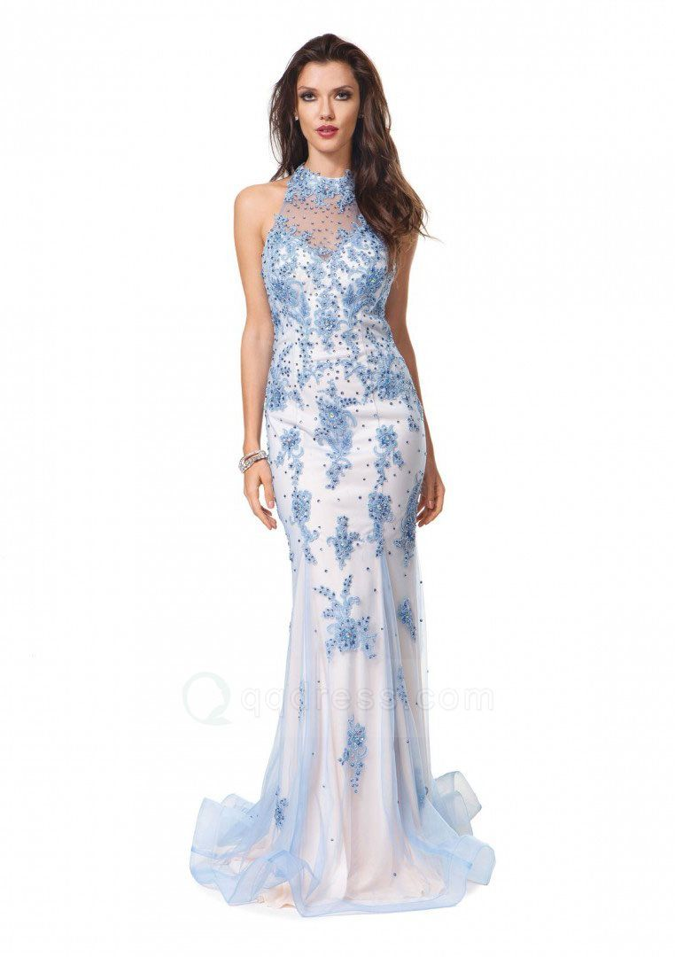 Mermaid sweep train high neck appliqued beaded open back tulle prom