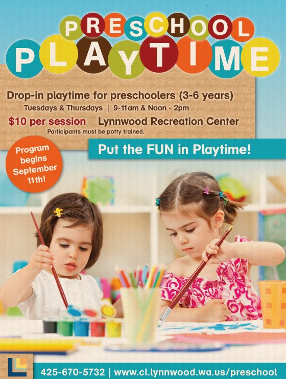 Preschool Playtime Poster  Preschool Playtime  School