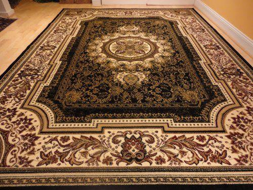 Large Black 8x11 Rug Persian Style Oriental Cream Area 8x10 Carpet