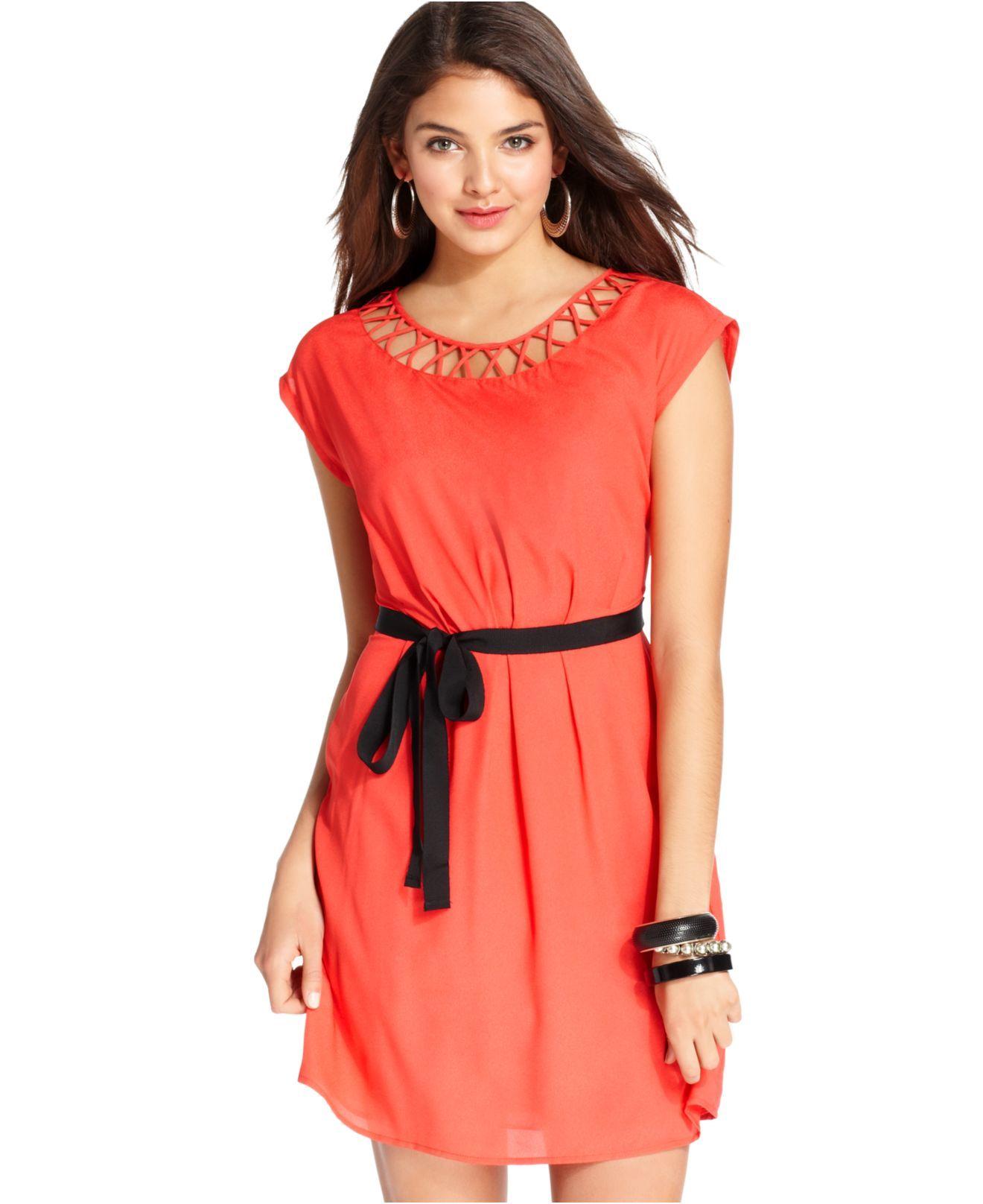 BeBop Juniors Dress, Cap Sleeve Belted Cutout & Reviews