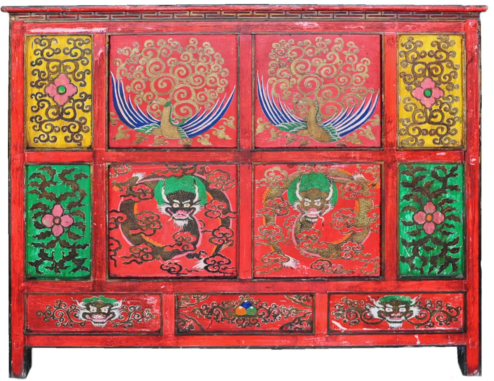 Hand Painted Tibetan Cabinet | Tibetan Buddhist Furniture Lamas Offering  Altar B006 01