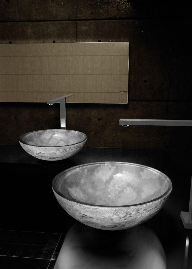 aufsatzwaschbecken rund modern Luna grau glass design srl Haus - designer waschbecken badezimmer stil