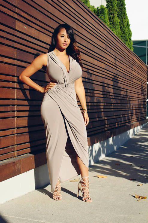 d4cd8f7ecdb680 Nude Summer Wrap Maxi Dress