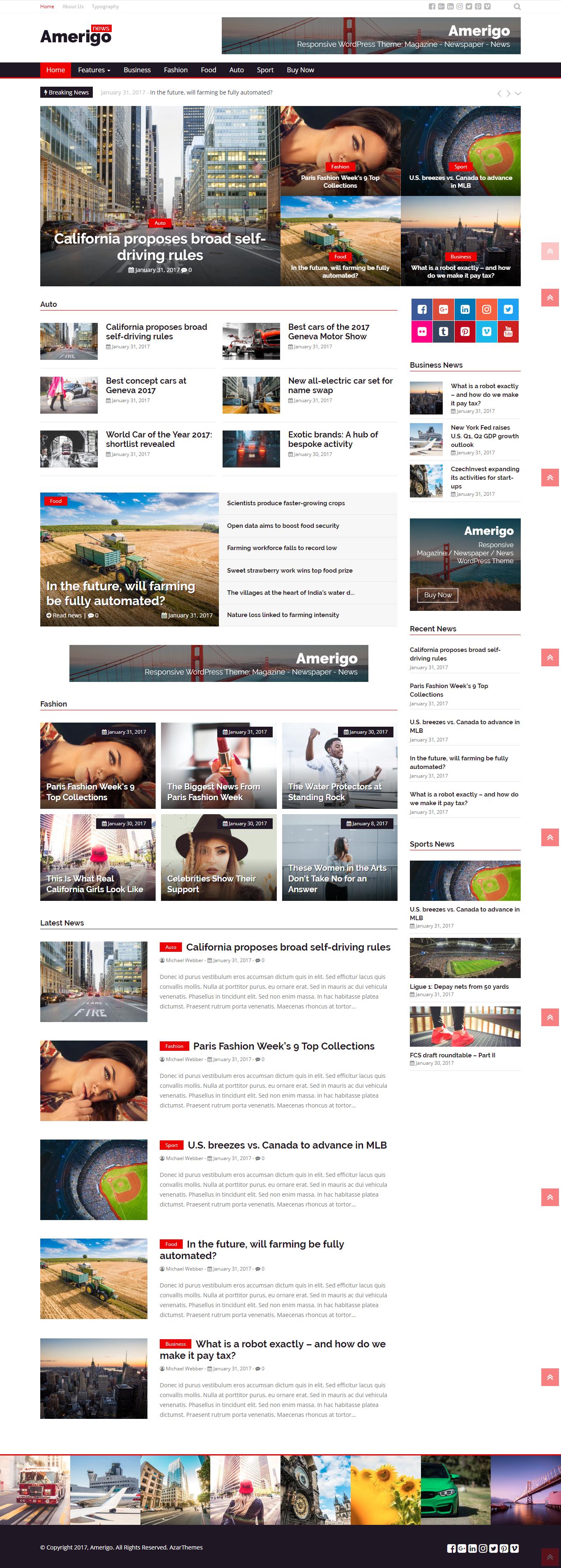Amerigo - Responsive Newspaper / News / Magazine WordPress Theme ...