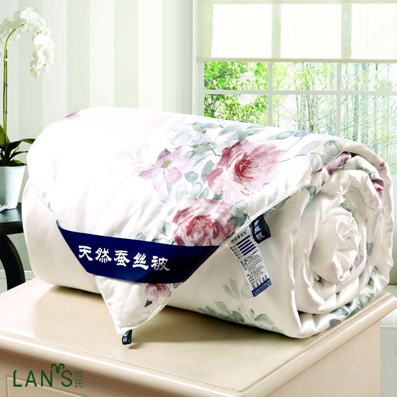 Barato Natural Silk Summer Quilts 2016 New Elegant Floral Blankets