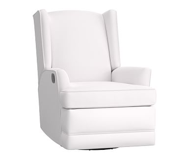 Modern Wingback Glider & Recliner, Organic Cotton Twill White