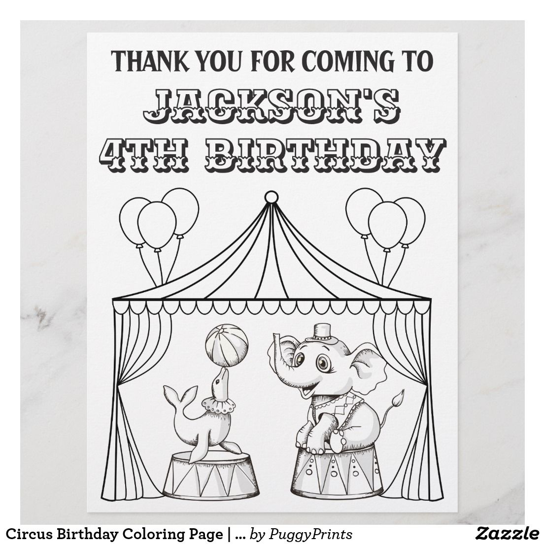 Circus Birthday Coloring Page Coloring Sheet Zazzle Com