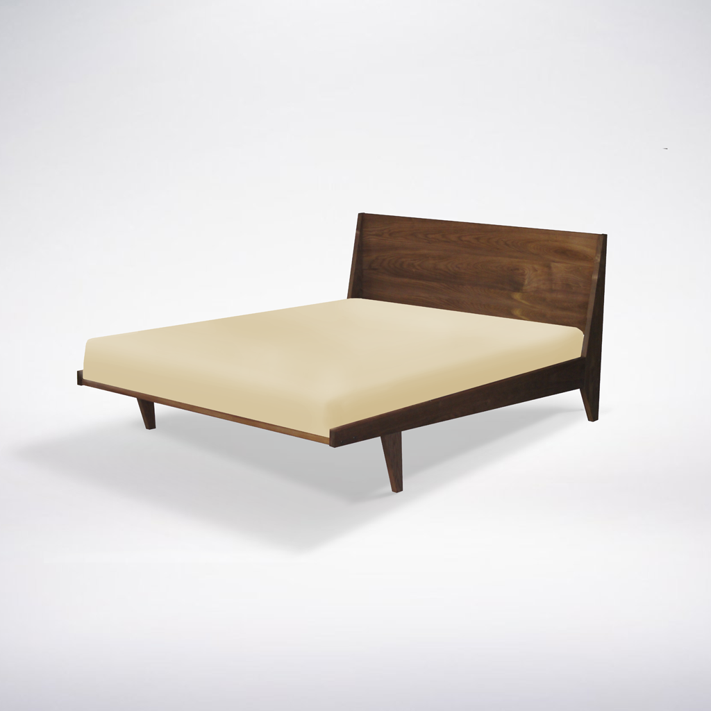 Modern one platform bed handmade mid century modern bed for Mobilia anos 50