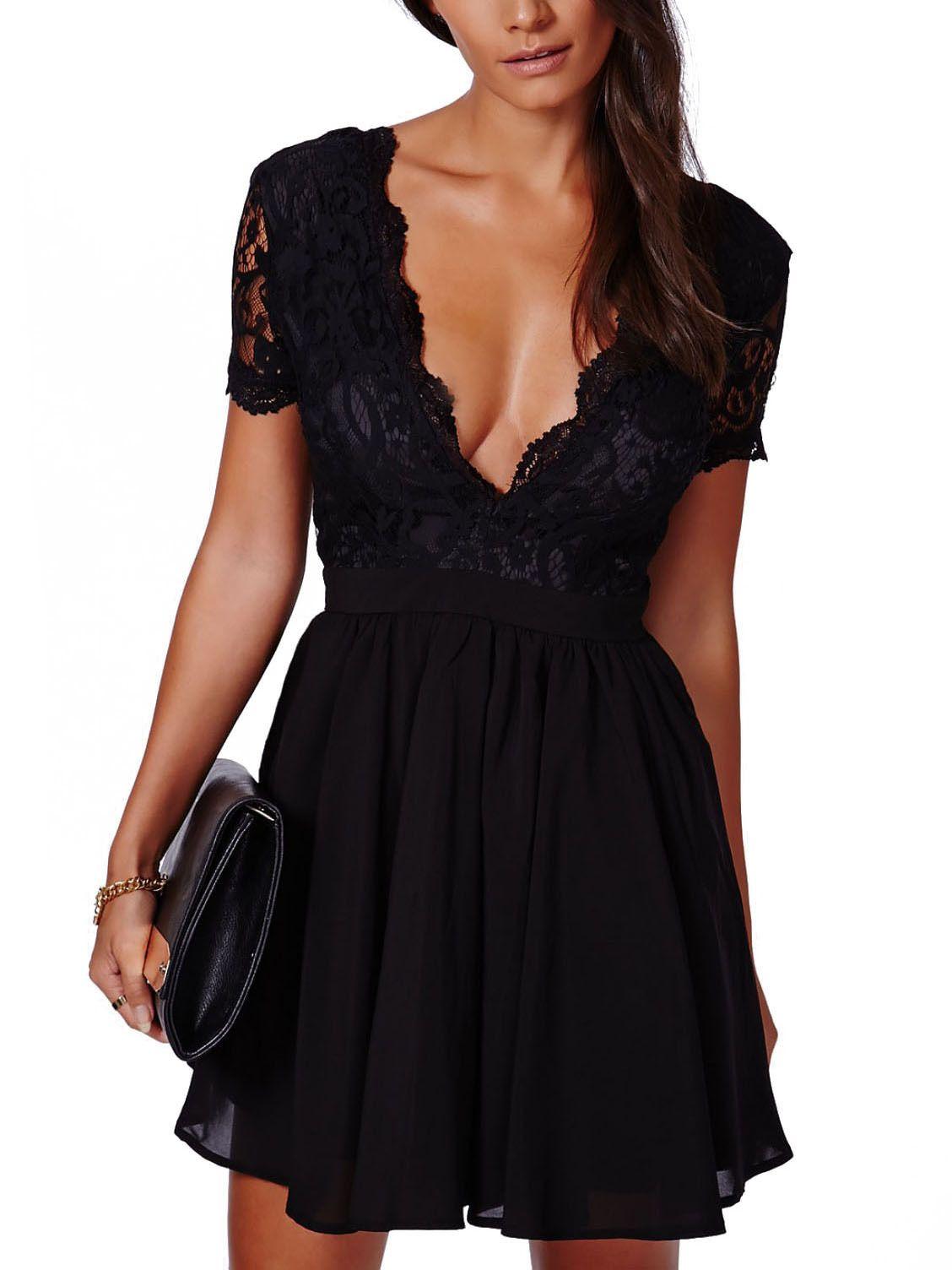 Black Deep V Neck Lace Pleated Dress Shein Sheinside Fashion Clothes Women Fashion Outfits Womens Dresses [ 1504 x 1128 Pixel ]
